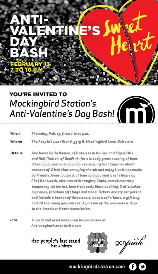anti vday flier for mockingbird station party in Dallas!