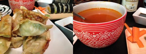 Asian appetizers: Dumplings and Soup