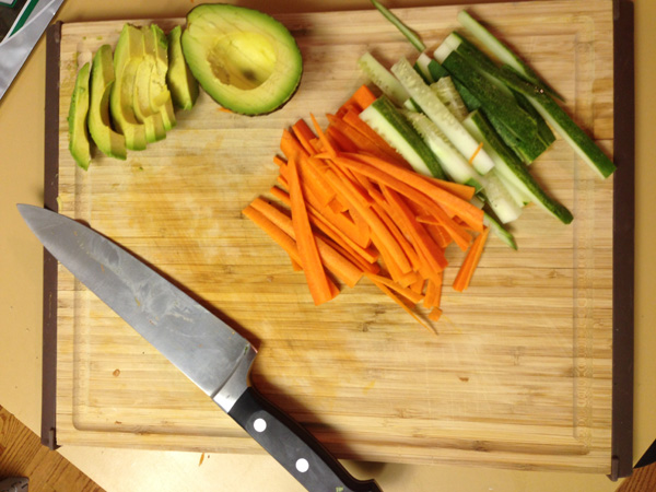 Making sushi at home - veggie prep