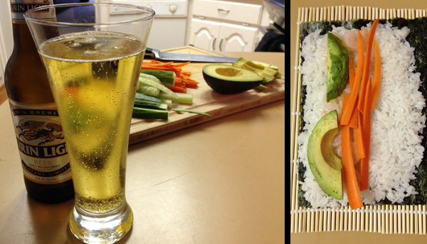 Making sushi at home with Kirin Light