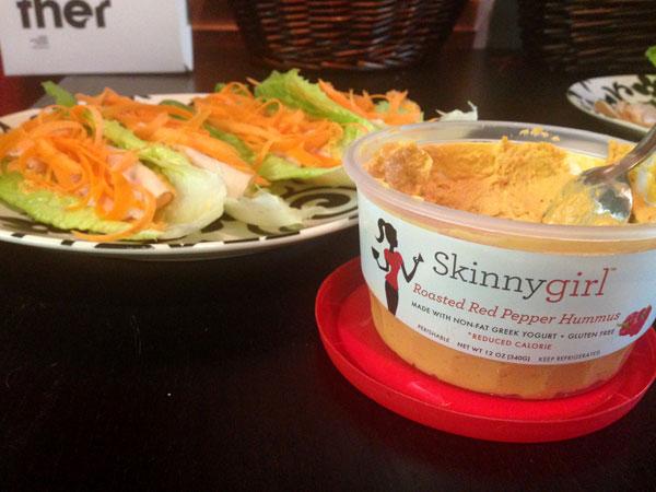 "Skinny Girl Turkey, Humus & Lettuce ""Tacos"""