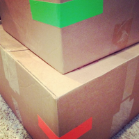 Colored tape allows for easy identification of box contents - use different colors for each room